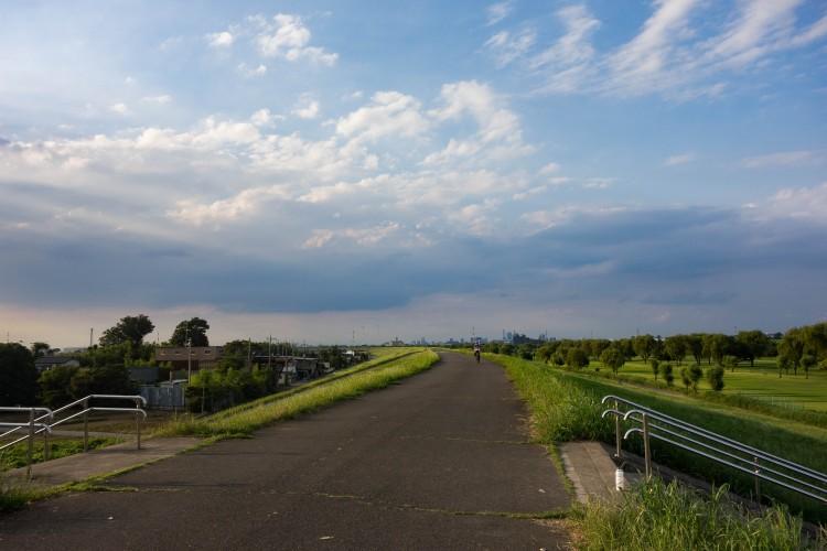 荒川サイクリングロードの夕日