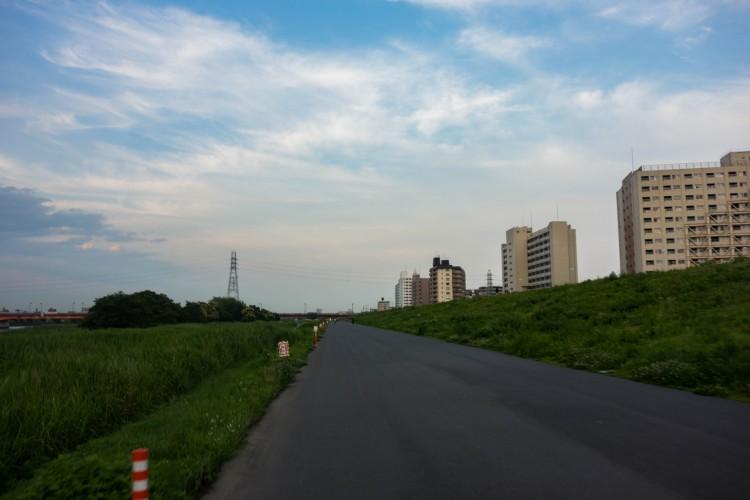帰り道の荒川サイクリングロード